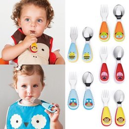 Wholesale Kids Stainless Steel Cutlery - Dinnerware Set 2Pcs Nordic Color Wheat Straw Kawaii Cartoon Cutlery Kids Stainless Steel Children Tableware Sets