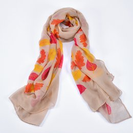 Wholesale Cheap Autumn Ladies Scarves - 2017 new lady scarf autumn leaves printed 100% polyester fabric cheap fashion casual elegant lady shawl