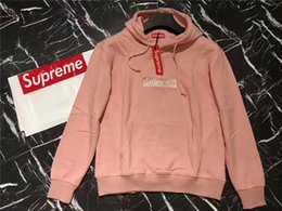 Wholesale Eco T - Supreme Sweater Outdoor Hoodie Black Grey White Red Long Sleeve Plush With Packing Hot Sale Fashion Cheap T-shirts 2017 Hot