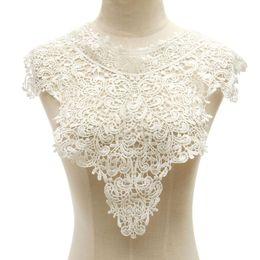 Wholesale Wholesale Lace Motifs - Wholesale- 1 PC Exquisite Embroidery Venise Neckline Lace Large Lace Collar Costume Easy Dress Fine Applique Motif Dress Trim Trimming