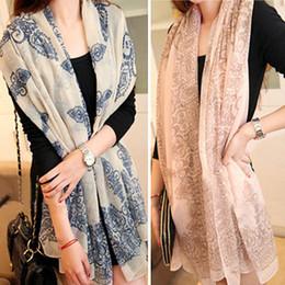 DHL бесплатно дешевые бархат шифон платки высокое качество синий и белый фарфор стиль тонкий раздел Шелковая нить пашмины женщин шарф шаль от