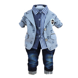 Wholesale Boys Blue Collar Shirt - 2017 new fashion baby winter clothing for 3 pcs boy clothes suits with polo shirts cotton jeans pant sets