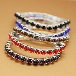 Wholesale Rhinestone Crystal Elastic Bracelet - Fashion Mixed Color Fully-Jewelled Bracelets Elastic Rhinestone Bracelets 100pcs lot For Gift Wholesale