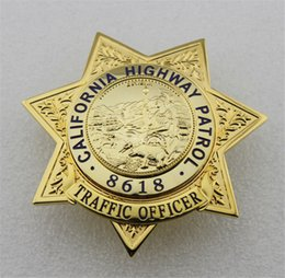 Wholesale Antique Metal Brass - new California State Highway Patrol TRAFFIC OFFICER CHP metal badge 8618 Brass limited Halloween cosplay badge