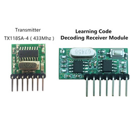Wholesale Buttons Code - Wholesale-433 Mhz Wireless Receiver and Transmitter Remote Control Learning Code 1527 Decoding Module 4 Ch output With Learning Button