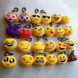 niedliche gefüllte affen großhandel Rabatt Großhandels3pcs / set nette Emoji Emoticon-Gelb-Kissen-weiche angefüllte Affe-Tier-Karikatur-Plüsch-Spielwaren-Schlüsselkette mit angefüllten hängenden Geschenken