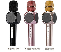 Wholesale Handheld Cell - High quality New model E103 wireless microphone phone bluetooth speaker wireless microphone Singsong musical KTV for smartphone Mobile Phone