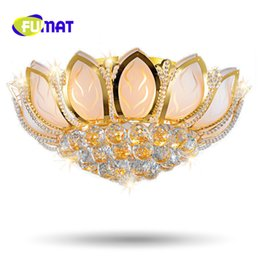 Wholesale Lotus Ceiling Lamp - FUMAT Lotus Flower Modern Ceiling Light With Glass Lampshade Gold Ceiling Lamp for Living Room Bedroom lamp