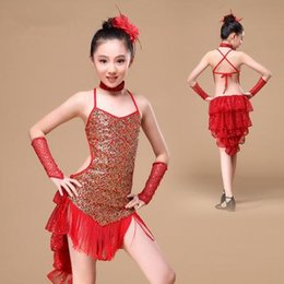Wholesale Latin Outfits - 8-15 Years Girls Sequins Latin Dance Dress Children Dance Outfit with Sleeves Latin Dresses Backless Fringe Ballroom Latin Dress for Girls