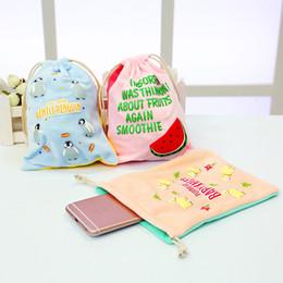Wholesale totoro cosmetic bag - Wholesale- New cute cartoon printing makeup bag portable toiletries make up storage pouch soft plush handbag organizer Totoro cosmetic bag