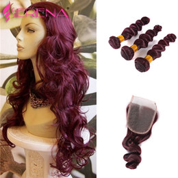 Wholesale Red Hair Products - Burgundy Human Virgin Hair Weave Bundles Grade 8A Wine Red 99J Peruvian Virgin Remy Human Hair Loose Wave 4Pcs Queen Hair Products