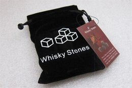 Wholesale Whiskey Ice Cubes - Natural Whiskey Stones 9pcs set Whisky Stones Cooler Whisky Rock Soapstone Ice Cube With Velvet Storage Pouch
