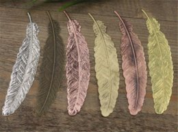 Wholesale Jewelry Made Feathers - BoYuTe 10Pcs 110*24MM Feather Bookmark Charm 8 Colors DIY Charms for Jewelry Making wholesale charm bookmark