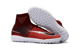 Wholesale Turf Soccer Shoe Green - Mens Mercurial X Proximo II IC TF Football Boots Mercurial Superfly Indoor Soccer Cleats High Ankle Turf Soccer Shoes Superflys V Red pink