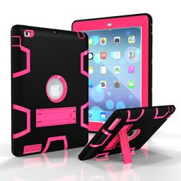 Wholesale Hybrid Case For Ipad - 3 IN 1 Hybrid Heavy Duty Robot Cases Kickstand Dual Color PC Rubber Shockproof Cover for iPad 2 3 4