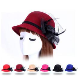 Wholesale Ladies Woolen Tops - Good A++ New ribbon rose flower hat lady gauze aristocratic temperament woolen woolen hat ceremony cap SMB041