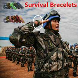 Wholesale Survival Bracelet Dhl - DHL Fedex Ship Wristband Outdoor Gear Survival Bracelets Escape Paracord Bracelet Hiking Camping Earthquake Tool Travel Custom Rope Color