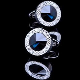 Wholesale Mens White Wedding Shirts - Sea Blue Crystal Cuff Links Luxury Men Business Wedding Shirt Cufflinks Brand Cuff Button For Mens Gifts Jewelry