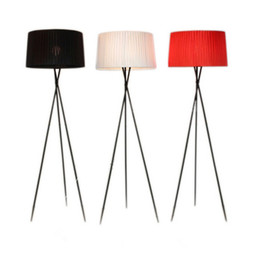 Wholesale Fabric Switches - H175CM G5 Fabric Floor Lamp Individuality Brief Modern Iron 3 Fork Lamp Floor Light black red white living room bedroom hotel lighting