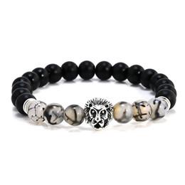 Wholesale Indian Head Charms - NEW Fashion Sandstone Hand String Black Dragon Stone Lion Head Buddha Beads Bracelet Wholesale