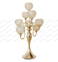 Wholesale Tall Candle Holders For Weddings - 2017 NEW 7arms Tall wedding crystal globe candelabra centerpiece,candle holder for wedding table centerpiece free shipping GLO1219