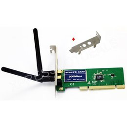 Wholesale Pci Wifi Card Desktop - Wholesale- PCI 300Mbps 300M 802.11b g n Wireless WiFi Card Adapter w Low Profile Bracket