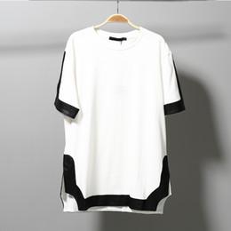 Wholesale Men White Shirt Korean Fashion - 2017 Summer Korean cool High quality t shirt men White and Black Short sleeve Split side tee Hip-hop TEE night short sleeve T-shirt
