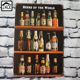 Wholesale Retro Items - BEERS OF THE WORLD Painting Item Tin Sign Chic Home Bar Pub Home Gallery Garage Wall Decor Retro Metal Art Poster
