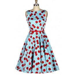 Wholesale Retro Cherry Dress - Wholesale- Women Summer Retro Vintage Summer Dress Casual Audrey Hepburn 50s Rockabilly Swing Party Dress Cherry Dress Vestido de Festa
