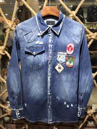 Wholesale Ripped Cardigan - 2017 Patchwork Pocket Denim Shirt Man maple leaf label Ripped Bleached Wash Vintage Long Sleeve Cowboy Shirts Luxury Brand