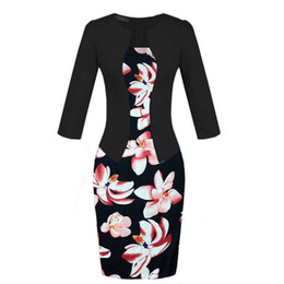 Wholesale Work Clothes Wholesale - NEW 2017 Spring Dress Office Elegant Patchwork Plus Size Fashion European Female Pencil Dresses Bodycon Ladies Work Wear Women Clothing
