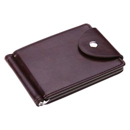 Wholesale Leather Money Bags For Men - Wholesale- FLAMA Brand Mini Men's leather Money Clip wallet Pocket Purse with clamp Man Slim Credit Card Bag ID Holder for male