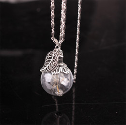 Wholesale White Leaves Necklace - hot! 2017 new fashion leaves dandelion seed glass pendant necklace DIY handmade silver plated retro necklace jewelry for women accessories
