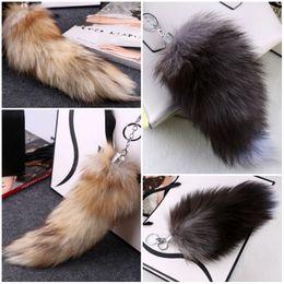 Wholesale Tail Hooks - Fluffy Sunny Fox Tail Fur Cosplay Toy Handbag Accessories Key Chain Ring Hook Tassels Black Yellow Christmas Gift C98L