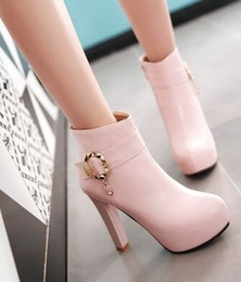 Wholesale Motorcycle Plastic Pink - Wholesale New Arrival Hot Sale Specials Super Influx Warm Knight Plush Buckle Diamond Noble Martin Fur Sweet Heels Ankle Boots EU34-43