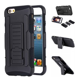 Wholesale Heavy Duty Military Iphone Cases - Military Hybrid Cover For iphone 6 6s 7 plus Case Black Coque For iPhone Case Heavy Duty Kickstand Clip Armor Hard Phone Bag