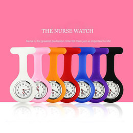 Wholesale Nursing Fob Watches - Christmas Gift Nurse Medical watch Silicone Clip Pocket Watches Fashion Nurse Brooch Fob Tunic Cover Doctor Silicon Quartz Watches 3009004