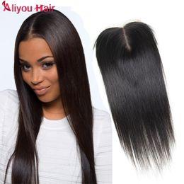 Wholesale Top Closure Pieces Human Hair - Human Hair Extensions 100% Brazilian Lace Closure Hair Pieces Human Hair Top Lace Closure Silky Straight 4*4 Weaves Closure Natural Color