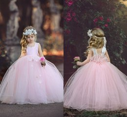 Wholesale Handmade Tulle Tutu - 2017 New Arrival Tutu Flower Girl's Dresses Square Pink Tulle Ball Gown Princess Handmade Flowers Floor Length Birthday Party Dresses