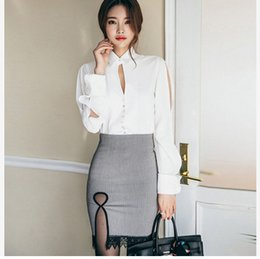 Wholesale Office Ladies Suits Shirts - 2017 Spring New Office Lady Elegant Suit Sexy Fashion White Shirt+Hip Package Skirt