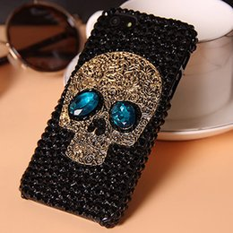 Wholesale Skull Galaxy Note Cases - gittering diamond rhinestone skull PC crystal case for iphone 7 7s 6 6s plus samsung galaxy s6 s7 note 5