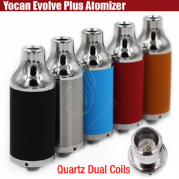 Wholesale Dual Atomizers - Authentic Yocan Evolve Plus Atomizers Wax Vaporizer herbal Vapor dry herb 510 ego Evolve Battery Quartz Dual Coils QDC e cigarettes tank DHL