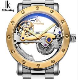 Wholesale Ik Watch Mens - Ik Genuine Brand Future Design Automatic Mechanical Mens Watch Hollow Transparent Unique Full Steel Man Watch Montres Hommes
