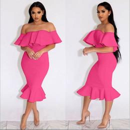 Wholesale Ladies Club Dresses - Sexy Women Ruffle Dress Off Shoulder Slash Neck Party Club Wear Slim Bodycon Dress S-XXL Plus Size Lady