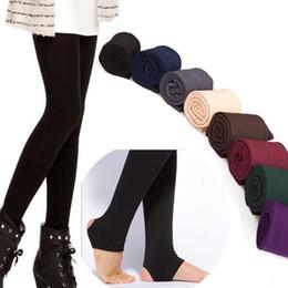 Wholesale Brushed Fleece - Wholesale- Brushed Lining Stretch Fleece Pants Trample Feet Leggings Women's Autumn Winter THICK Warm Legging