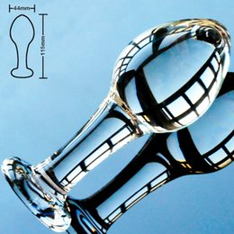 Wholesale Masturbate Toys Woman - 44mm Big ball pyrex glass anal dildo butt plug crystal vagina bead fake penis female masturbate adult sex toy for gay women men