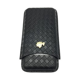 Wholesale Cigar Gadgets Gifts - COHIBA Gadgets New Black Woven Pattern Leather Cigar Case 3 Tubes Portable Travel Cigars Humidor with Gift Box