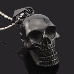 Wholesale Motorcycle Chain Necklace - Wholesale- New Biker Motorcycle Enthusiast Black Stainless Steel Skull Pendant Necklace Men's Charm Jewelry Party Gift, punk rock GP1666
