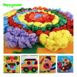 Wholesale Kids Craft Large - Happyxuan 4pcs lot 23.5*23.5 cm Large DIY Tissue Paper Art Craft Kits Room Decorations Educational Toys for Kids