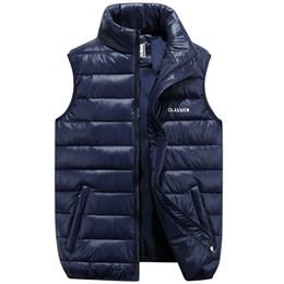 Wholesale Mandarin Collar Waistcoat - Wholesale- BINYUXD Mens Vest 100% White Down Cotton Winter Jacket 2017 New Arrival Slim Short Parka Man Vests waistcoat Plus Size 5XL